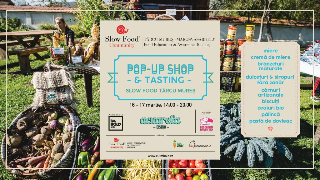 Slow food pop-up shop, talk si degustare la acuarela weekend 15-17 martie