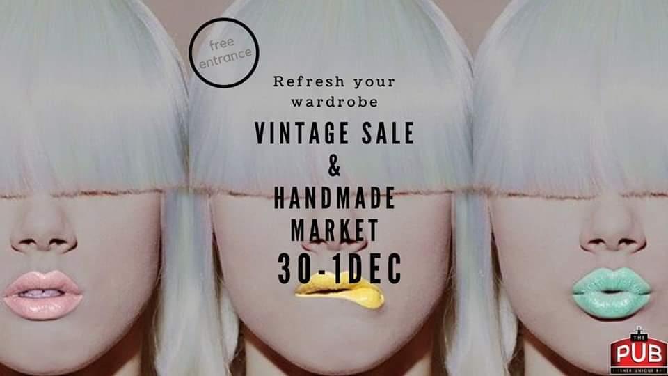 Vintage and Handmade market la The Pub weekend 30 nov - 1 dec