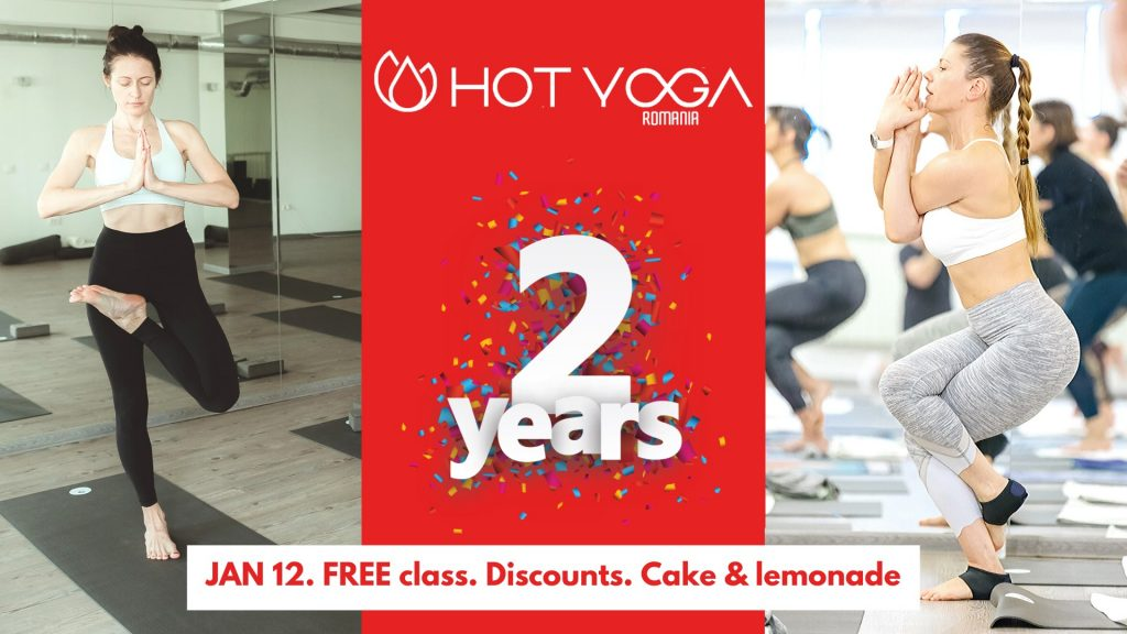 2 ani de hot yoga romania weekend 10-12 ianuarie