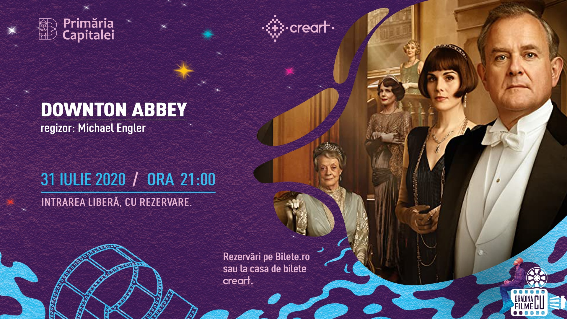 evenimente weekend 31 iulie-2 aug proiectie film Downtown Abbey