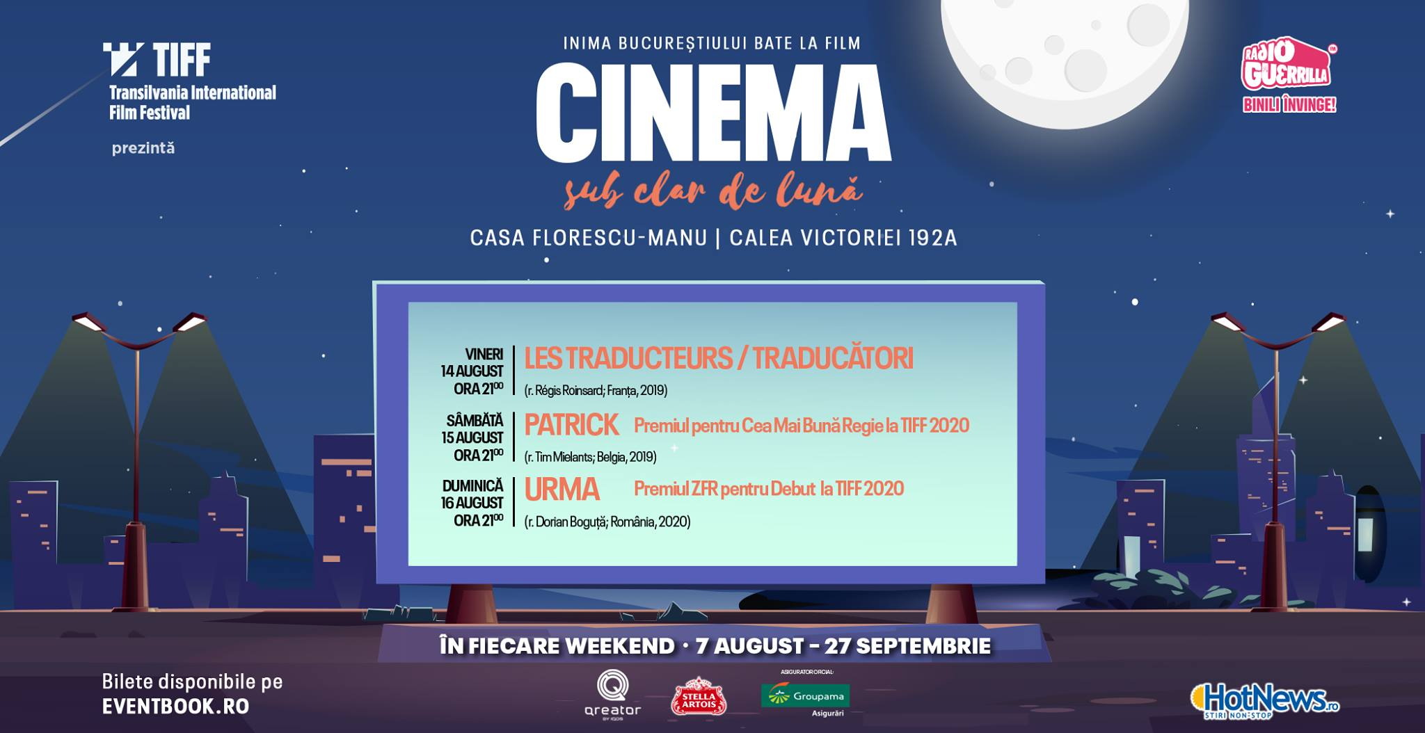 weekend 14-16 august cinema sub clar de luna 2